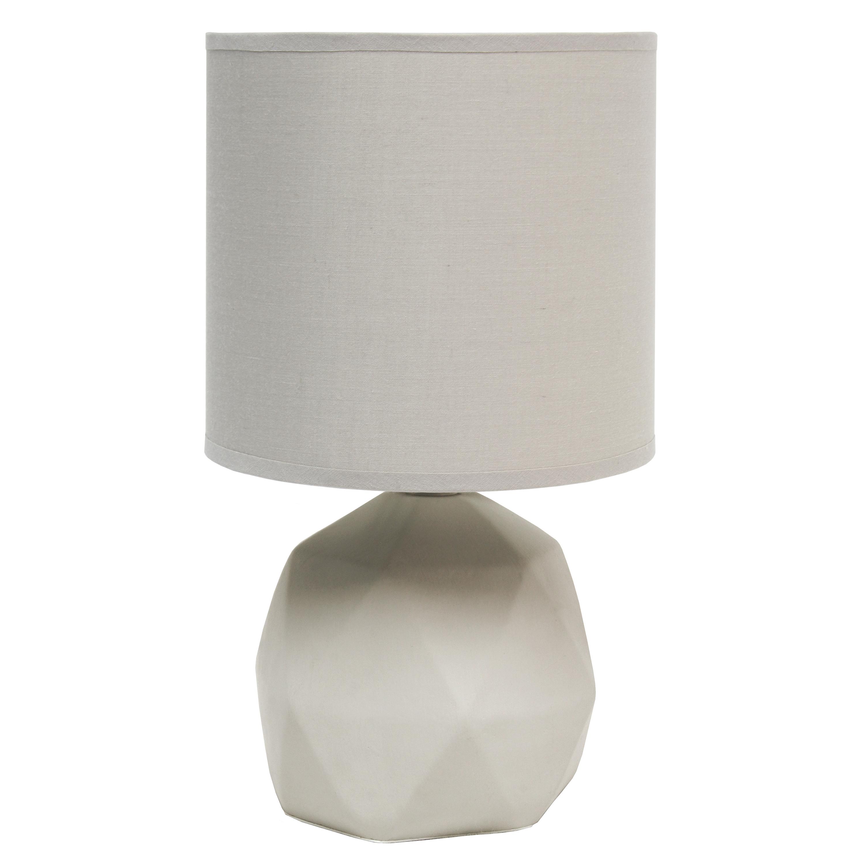 Simple Designs Geometric Concrete Lamp, Gray