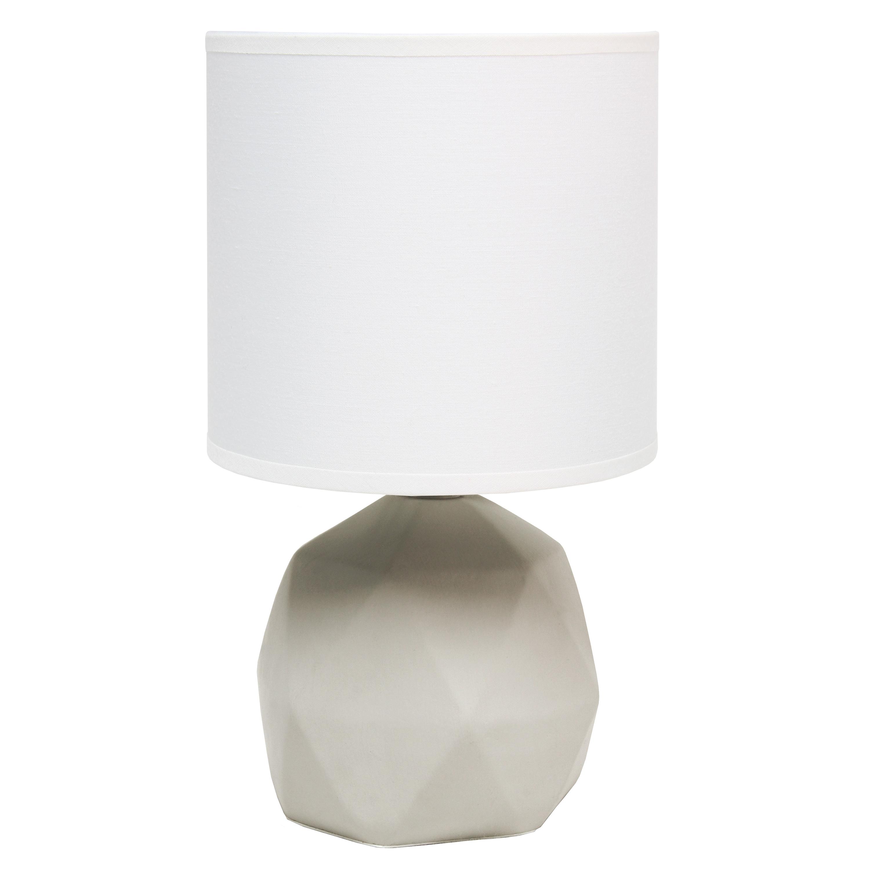 Simple Designs Geometric Concrete Lamp, White