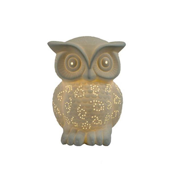 Simple Designs Porcelain Owl Shaped Table Lamp