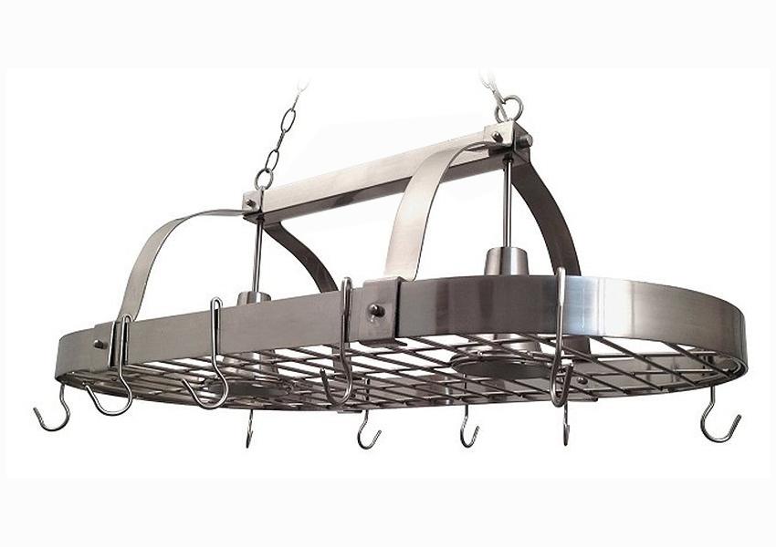 Elegant Designs Brushed Nickel 2 Light Kitchen Pot Rack with Downlights
