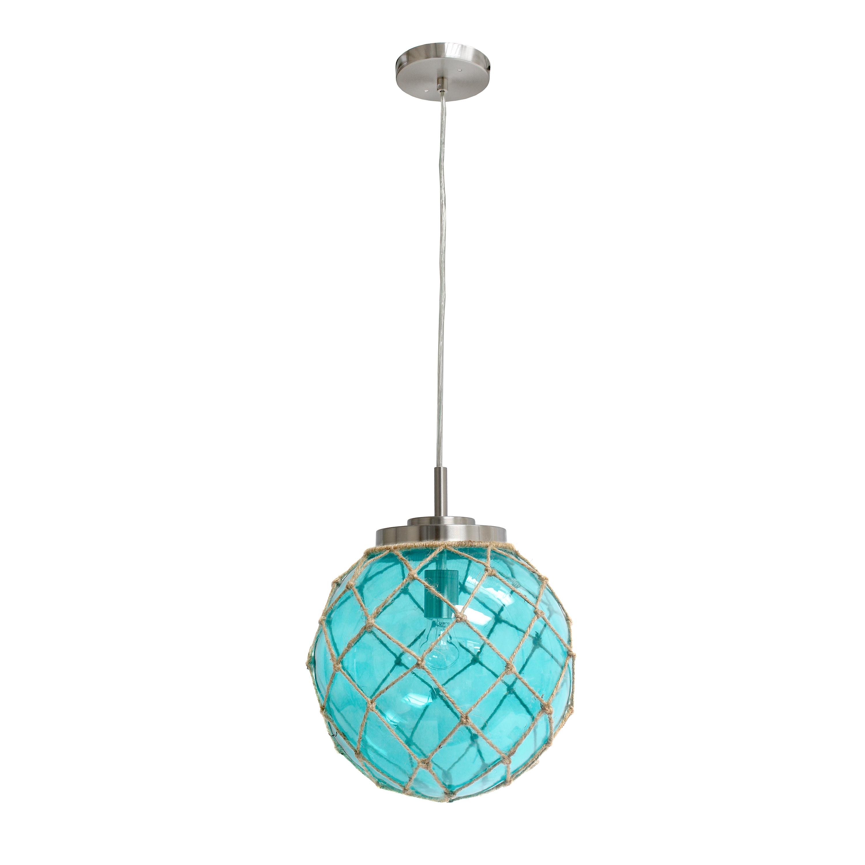 Elegant Designs Buoy Netted Brushed Nickel Coastal Ocean Sea Glass Pendant with Natural Rope, Aqua