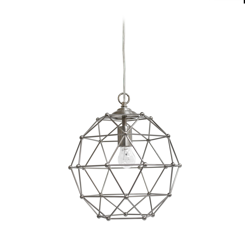 Elegant Designs 1 Light Hexagon Industrial Rustic Pendant Light, Brushed Nickel