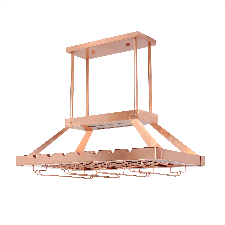 Elegant Designs 2 Light LED Overhead Wine Rack, Copper