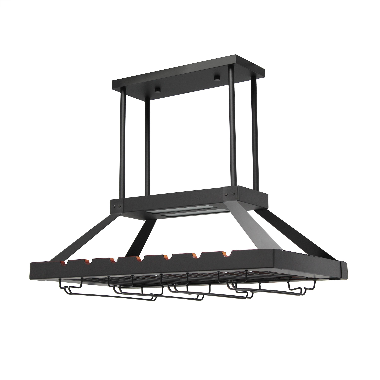 Elegant Designs 2 Light LED Overhead Wine Rack, Oil Rubbed Bronze