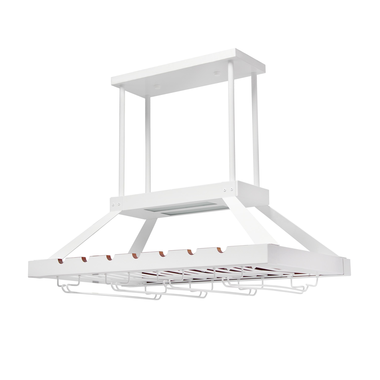 Elegant Designs 2 Light LED Overhead Wine Rack, White
