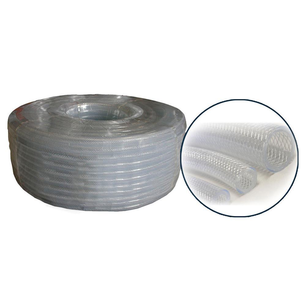 """1/2"""" I.D. x 3/4"""" O.D. PVC Clear Braided Tubing x 100' Coil"""