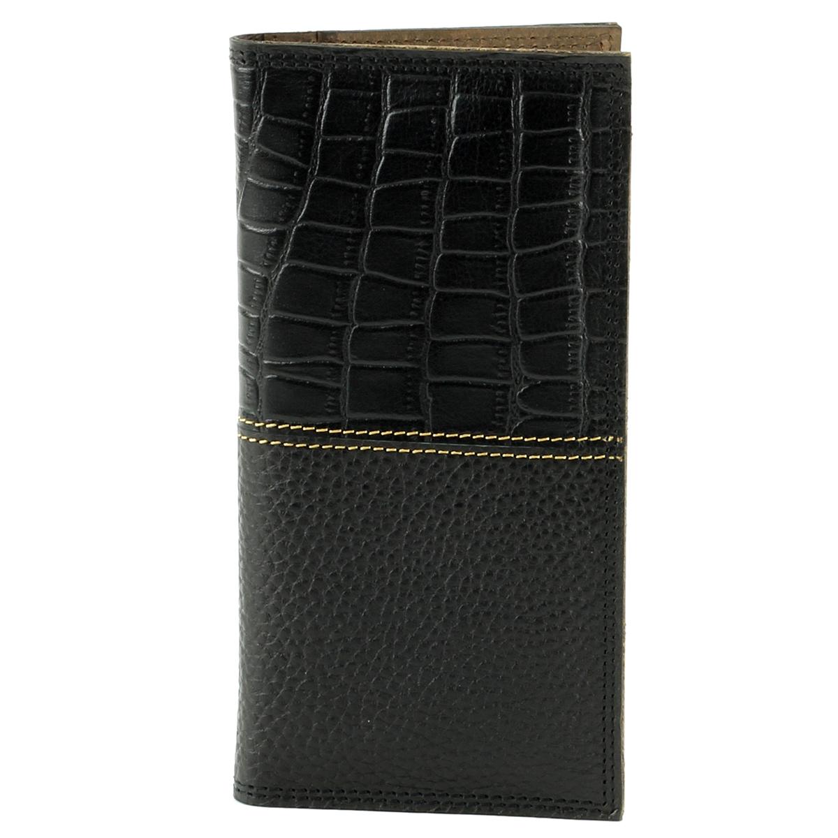 Tall Rodeo Wallet Croc Print Black