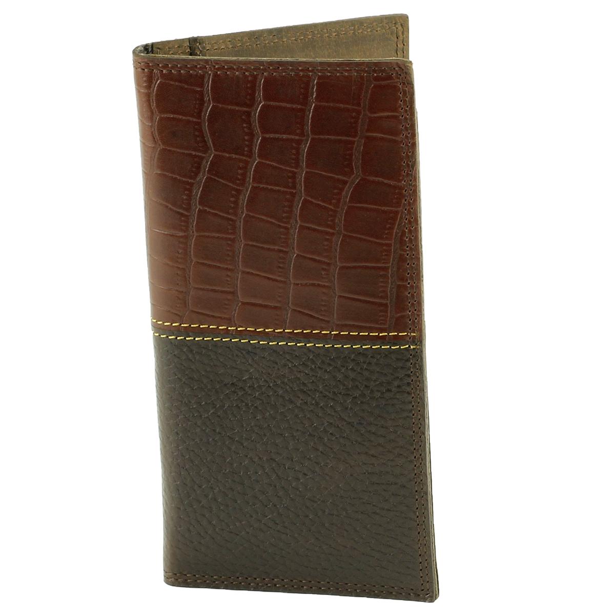 Tall Rodeo Wallet Croc Print Brown