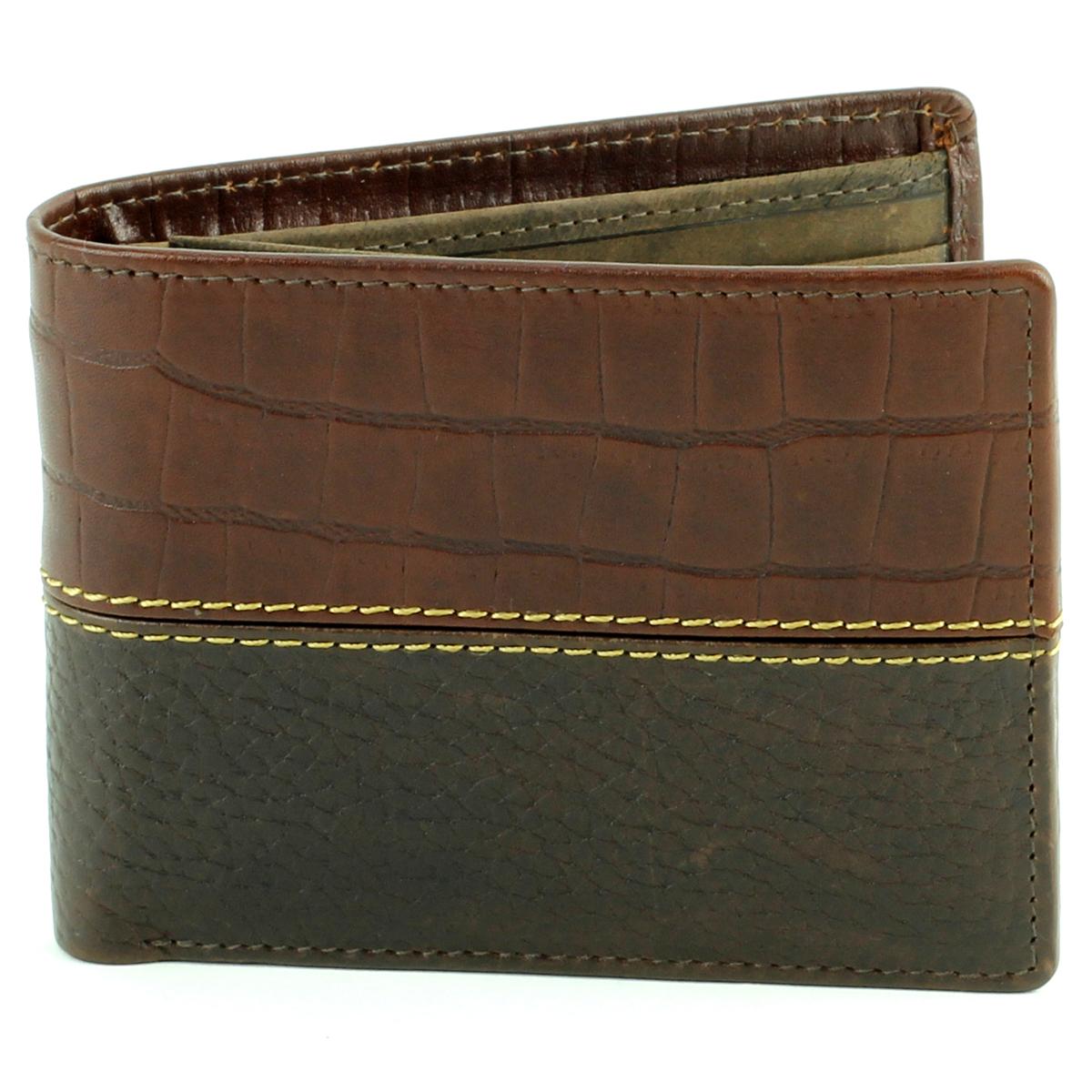 Bifold Rodeo Wallet Croc Print Brown