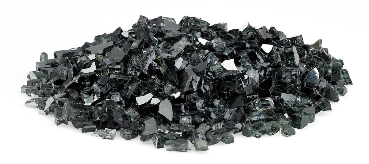 "1/4"" Black Reflective Fire Glass, 10 lb. Jar"