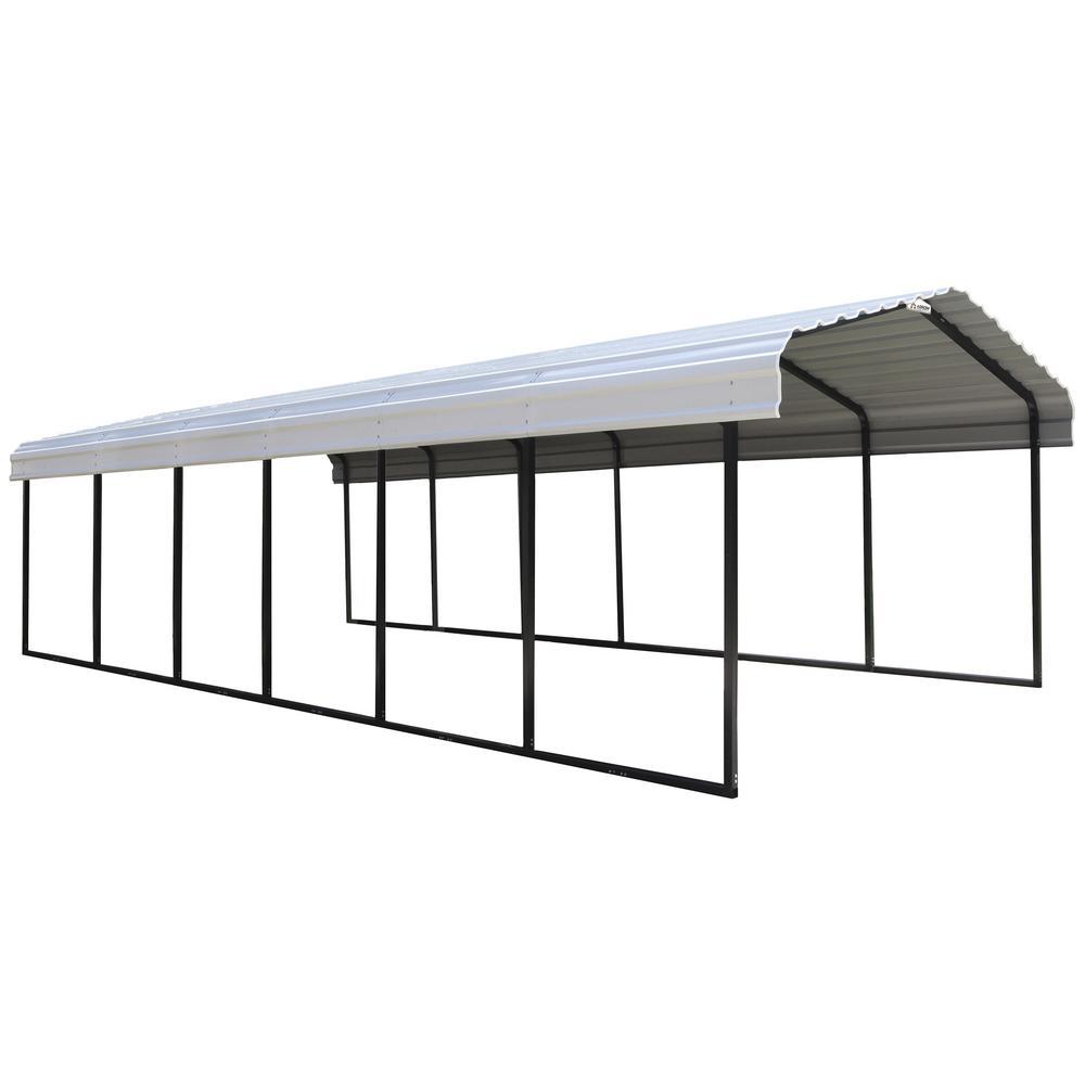 STEEL CARPORT 12 X 29 X 7 FT GALVANIZED BLACK/EGGSHELL