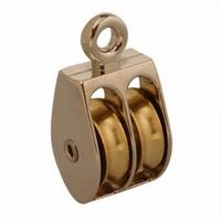 Baron 0176ZD-1 Double Sheave Double Wheel Rigid Eye Rope Pulley, 55 lb, Zinc Die-Cast
