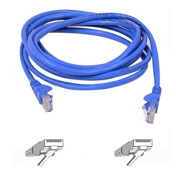CAT5e Snagless Patch Cable, RJ45 Connectors, 15 ft, Blue