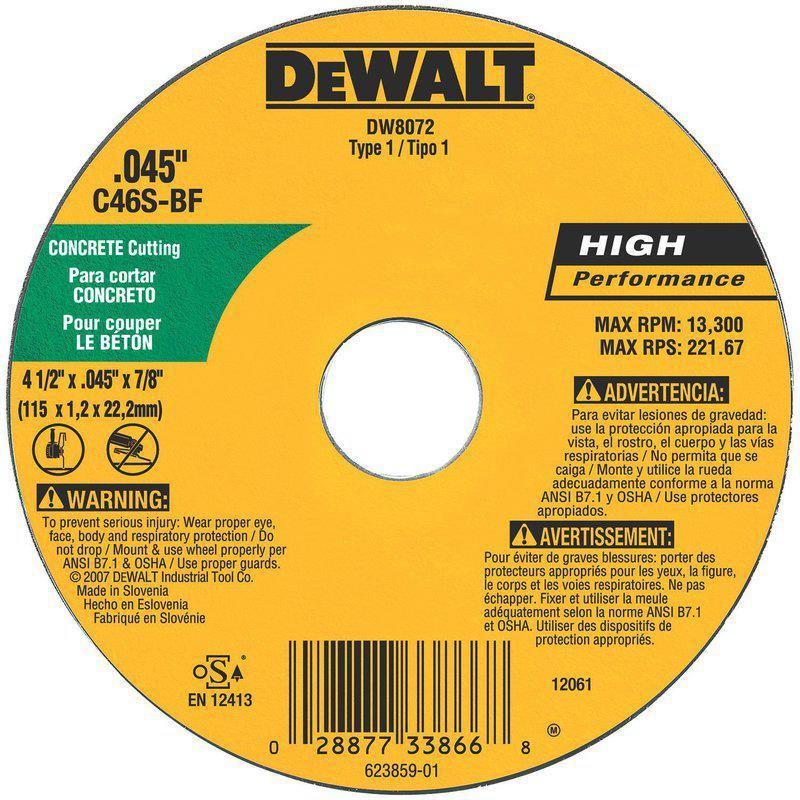 Dw8072 4.5X.045X7/8 Concrete/Masonry Wheel