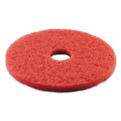 "Standard Buffing Floor Pads, 14"" Diameter, Red, 5/Carton"