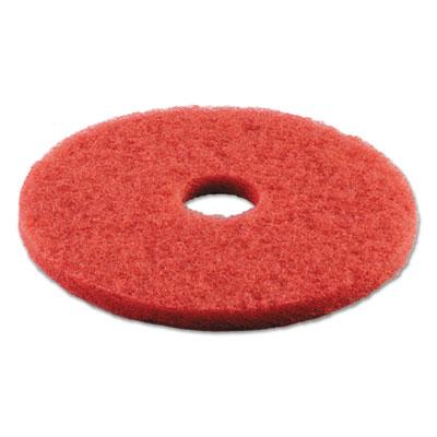 "Standard Buffing Floor Pads, 16"" Diameter, Red, 5/Carton"