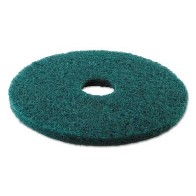 "Standard Heavy-Duty Scrubbing Floor Pads, 17"" Diameter, Green, 5/Carton"