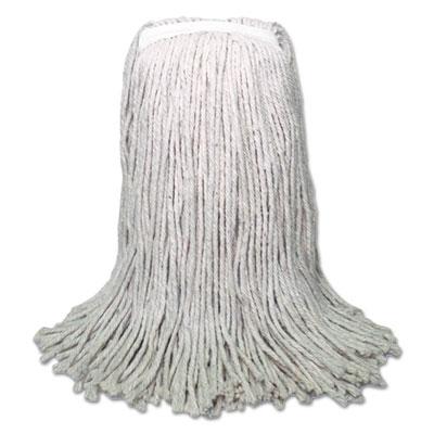 Banded Mop Head, Cotton, Cut-End, White, 16oz, 12/Carton