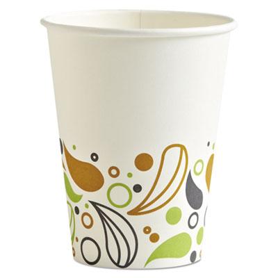 Deerfield Printed Paper Hot Cups, 12 oz, 50 Cups/Pack, 20 Packs/Carton