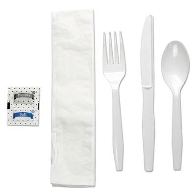 Six-Piece Cutlery Kit, Condiment/Fork/Knife/Napkin/Teaspoon, White, 250/Carton