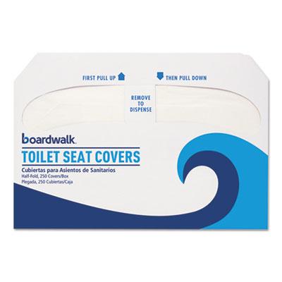 Premium Half-Fold Toilet Seat Covers, 14.25 x 16.5, White, 250 Covers/Sleeve, 10 Sleeves/Carton