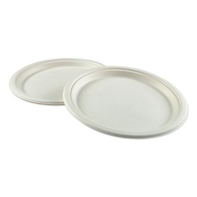 """Bagasse Molded Fiber Dinnerware, Plate, 10"""" Diameter, White, 500/Carton"""