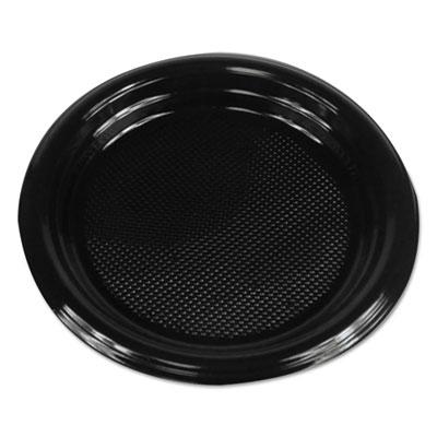 """Hi-Impact Plastic Dinnerware, Plate, 6"""" Diameter, Black, 1000/Carton"""