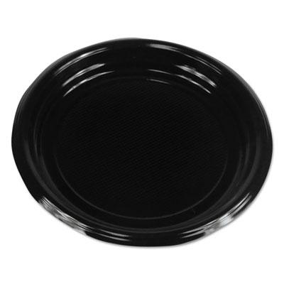 """Hi-Impact Plastic Dinnerware, Plate, 9"""" Diameter, Black, 500/Carton"""