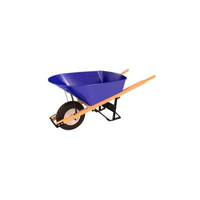 STEEL TRAY WHEEL BARROW - 6 CU FT - SINGLE FLAT FREE TIRE WOOD HANDLE