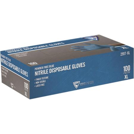 GLOVES NITRILE BLUE 3MIL X XL