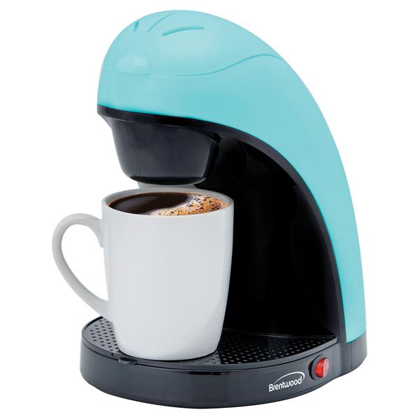 Brentwood Appliances TS-112BL Single-Serve Coffee Maker with Mug (Blue)