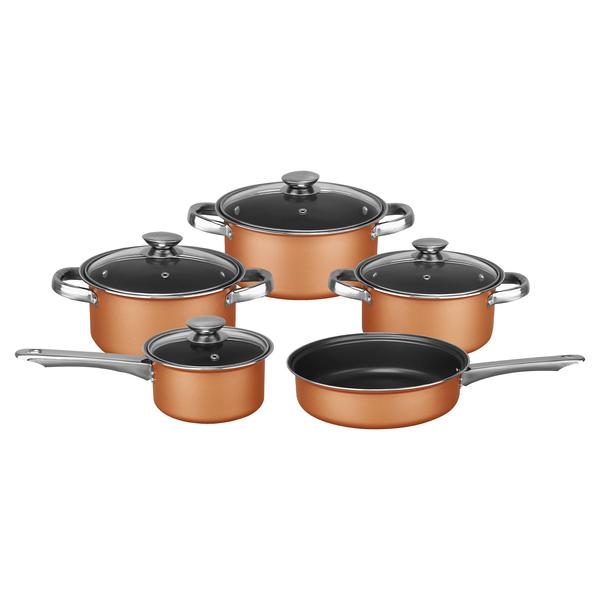 Brentwood Appliances BPS-309C 9-Piece Nonstick Copper-Clad Cookware Set with Glass Lids