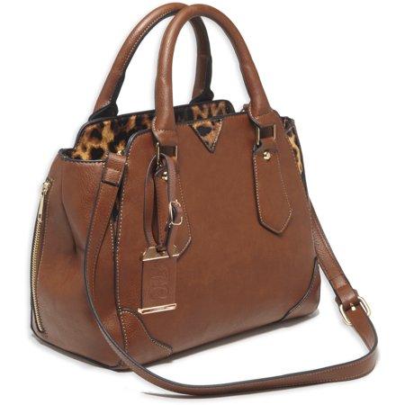 "Bulldog Satchel Style Purse w/Holster - Chestnut w/leopard trim (16"" x 9.5"" x 5.5"")"