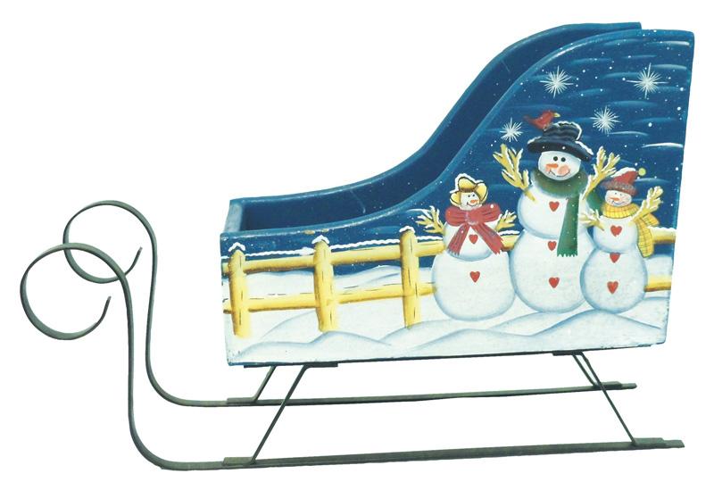 "WOOD CHRISTMAS SLEIGH (BLUE) 13""X5""X9"""