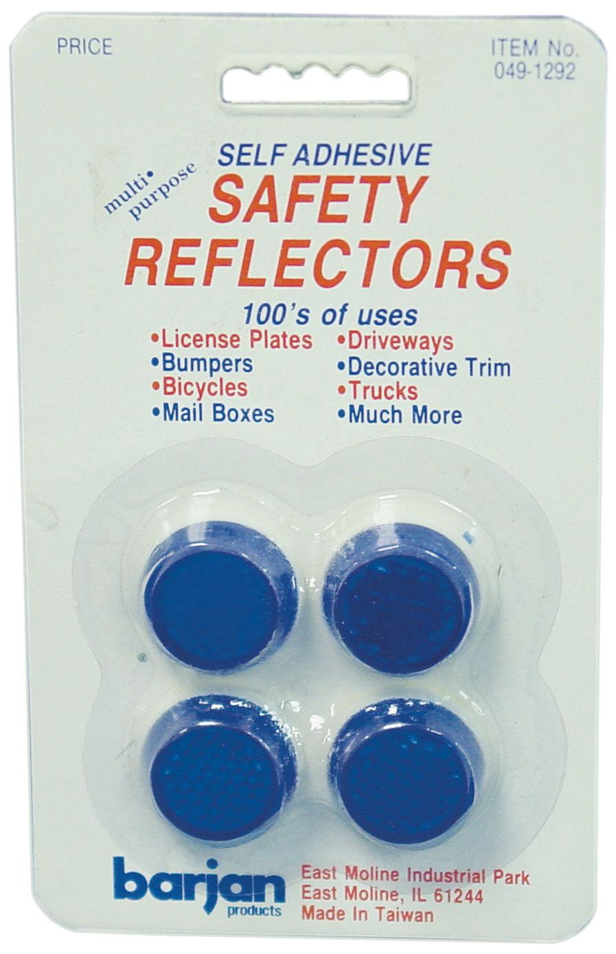 BARJAN MULTI-PURPOSE MINI BLUE ROUND SELF ADHESIVE SAFETY REFLECTORS - 4 PER CARD