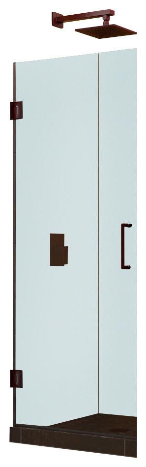 """Unidoor 24"""" Frameless Hinged Shower Door, Clear 3/8"""" Glass Door, Brushed Nickel"""