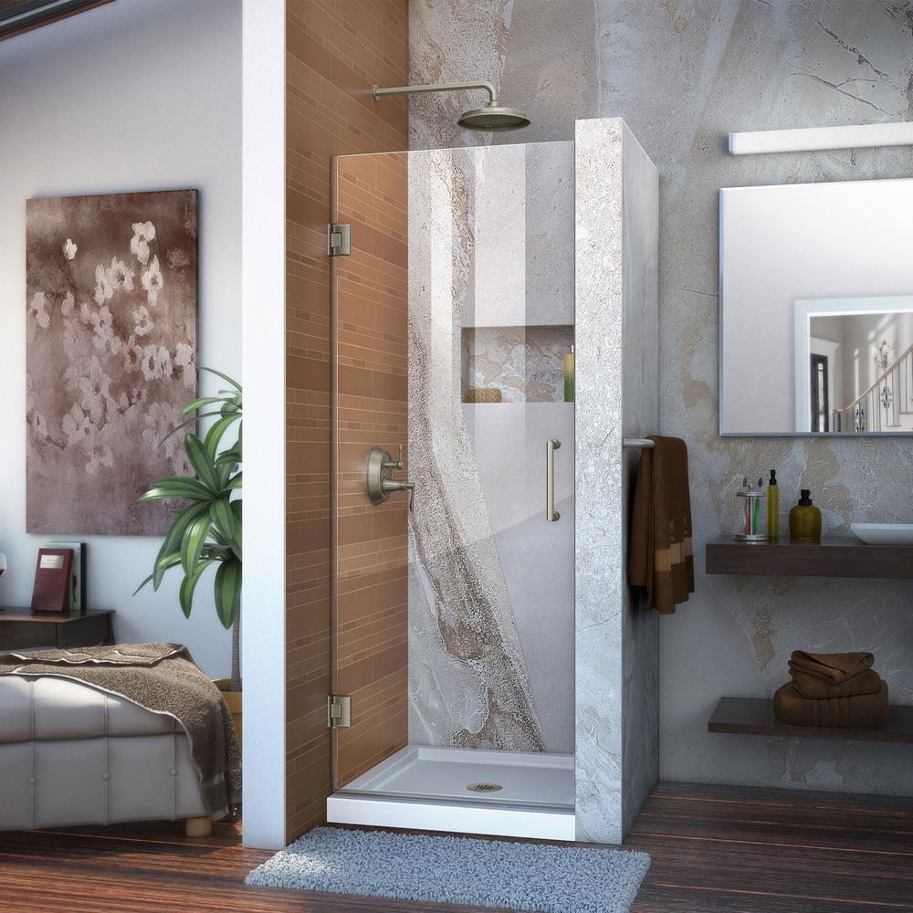 """Unidoor 30"""" Frameless Hinged Shower Door, Clear 3/8"""" Glass Door, Brushed Nickel"""