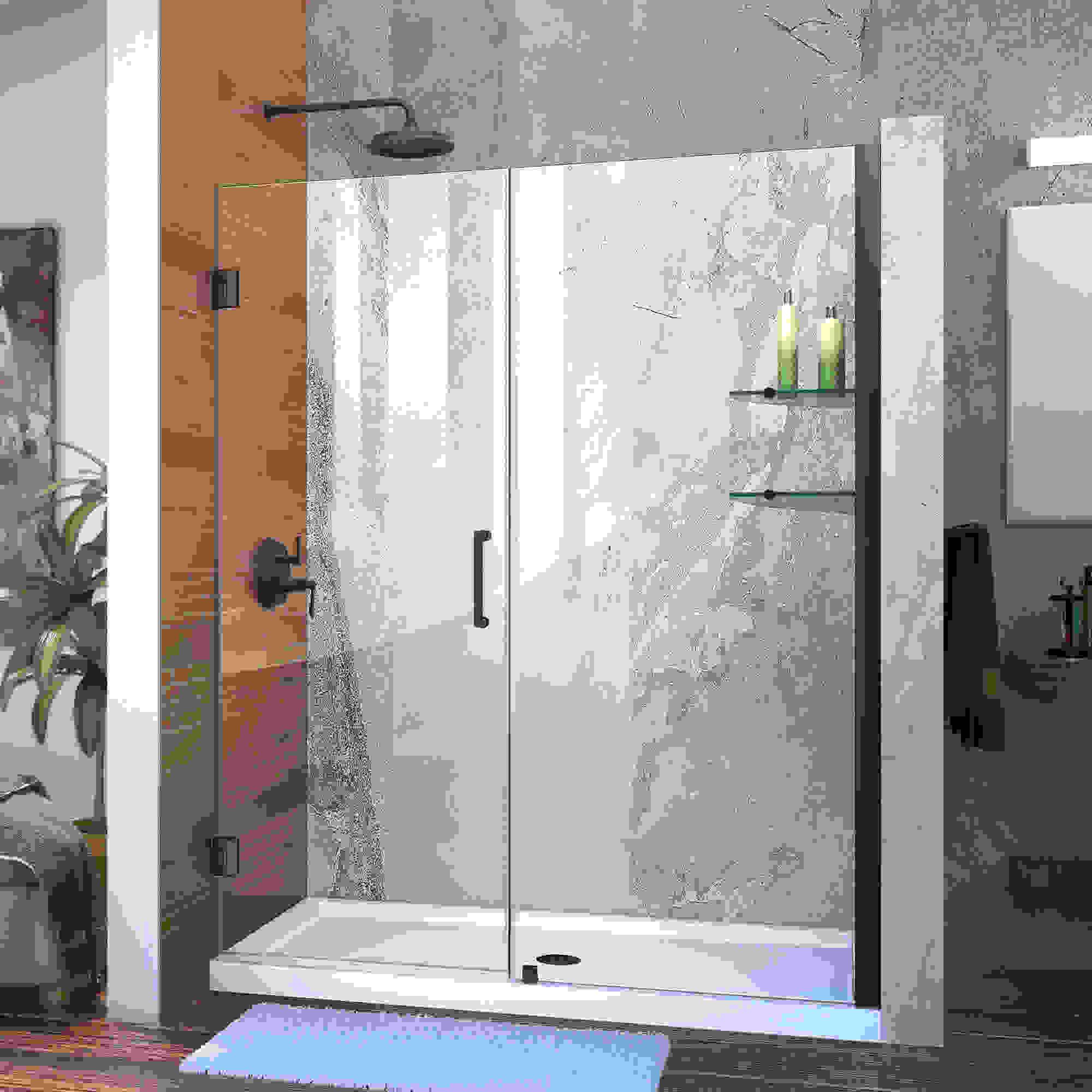 """Unidoor 58 to 59"""" Frameless Hinged Shower Door, Clear 3/8"""" Glass Door, Brushed Nickel"""