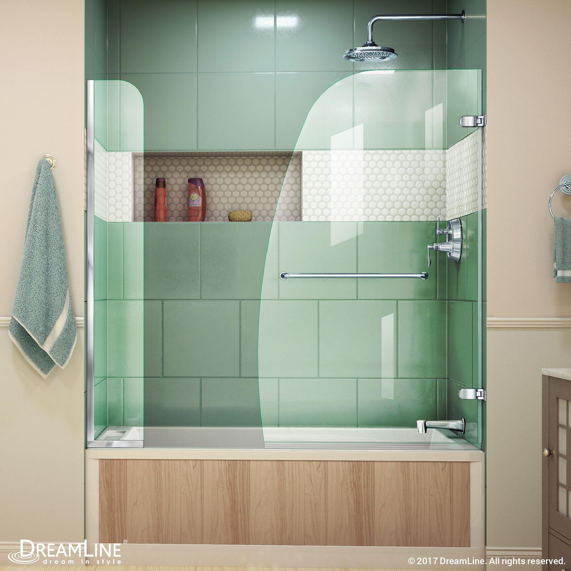 "Aqua Uno 34"" Frameless Hinged Tub Door, Clear 1/4"" Glass Door, Brushed Nickel"