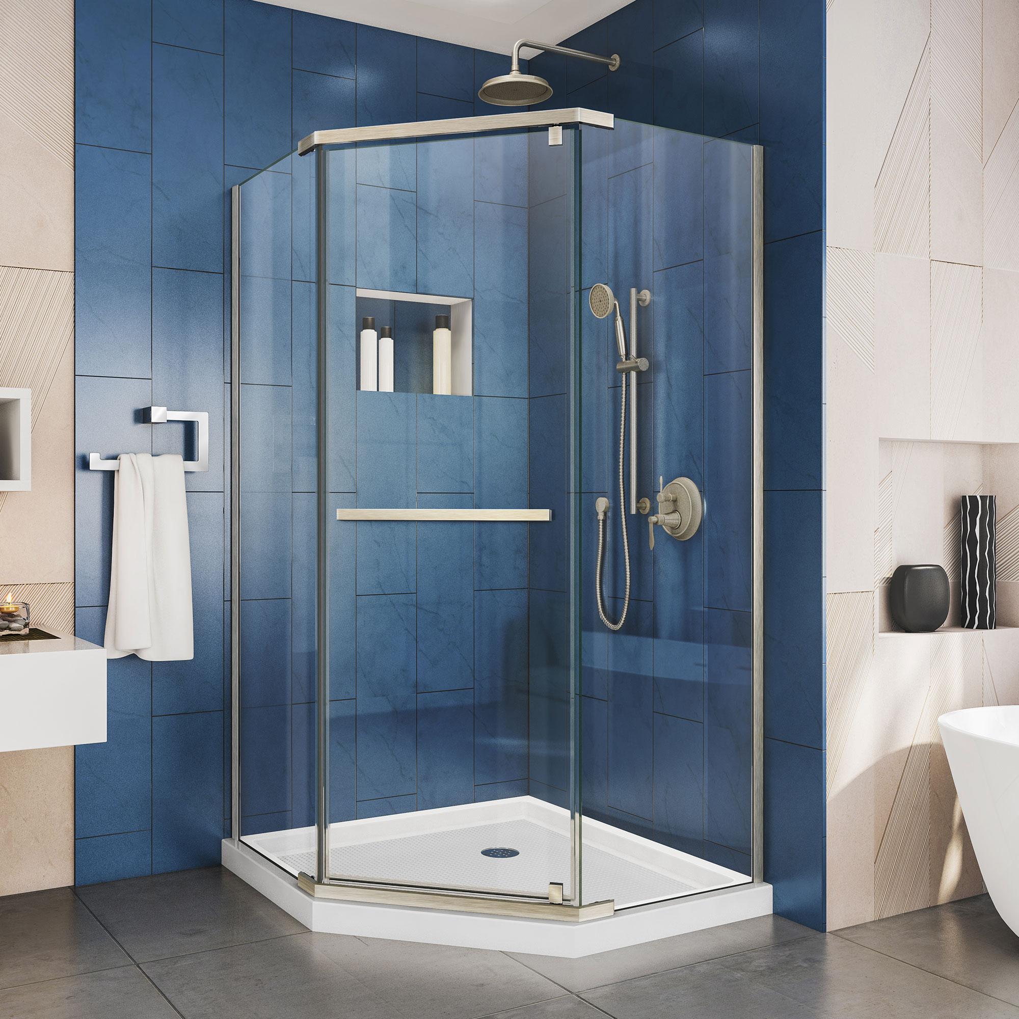 "Prism 36 1/8"" by 36 1/8"" Frameless Pivot Shower Enclosure, Clear 3/8"" Glass Shower, Brushed Nickel"