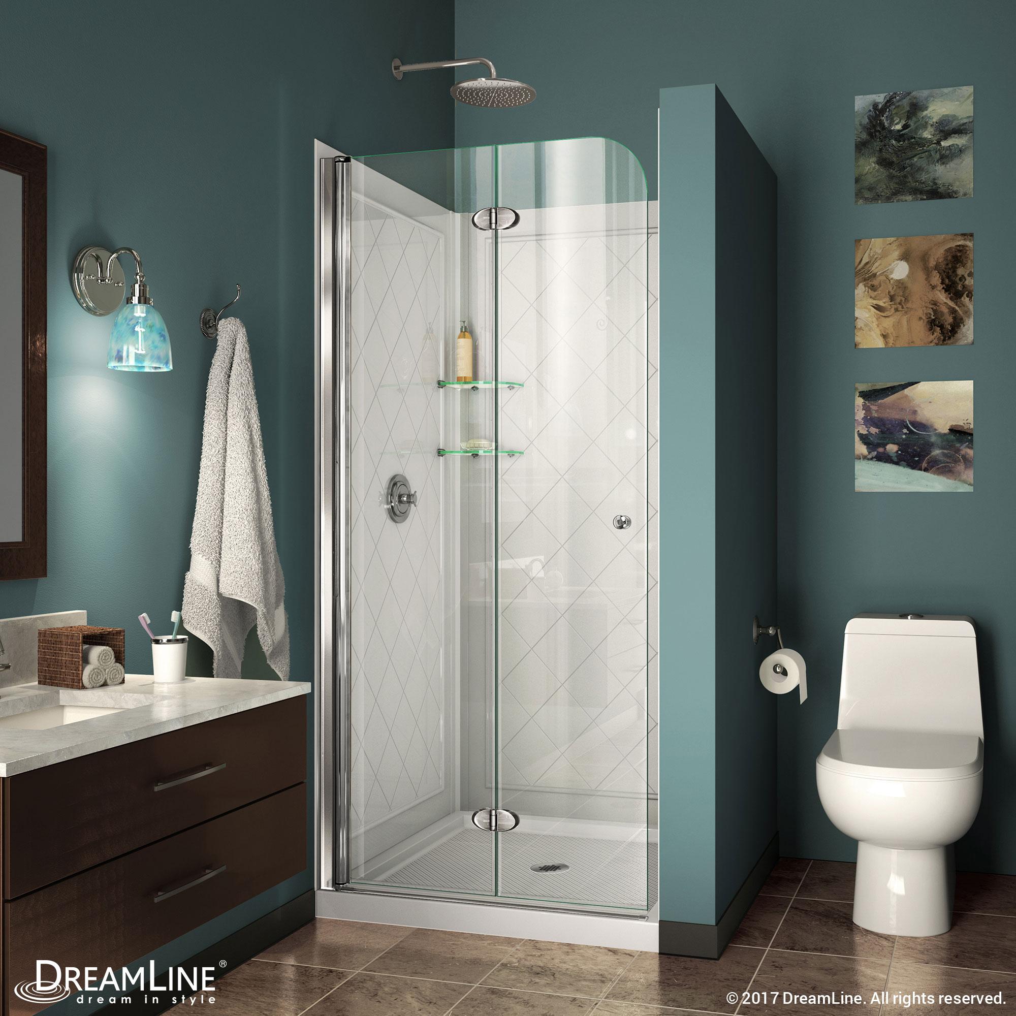 DreamLine Aqua Fold 36 in. W x 58 in. H Frameless Bi-Fold Tub Door in Chrome