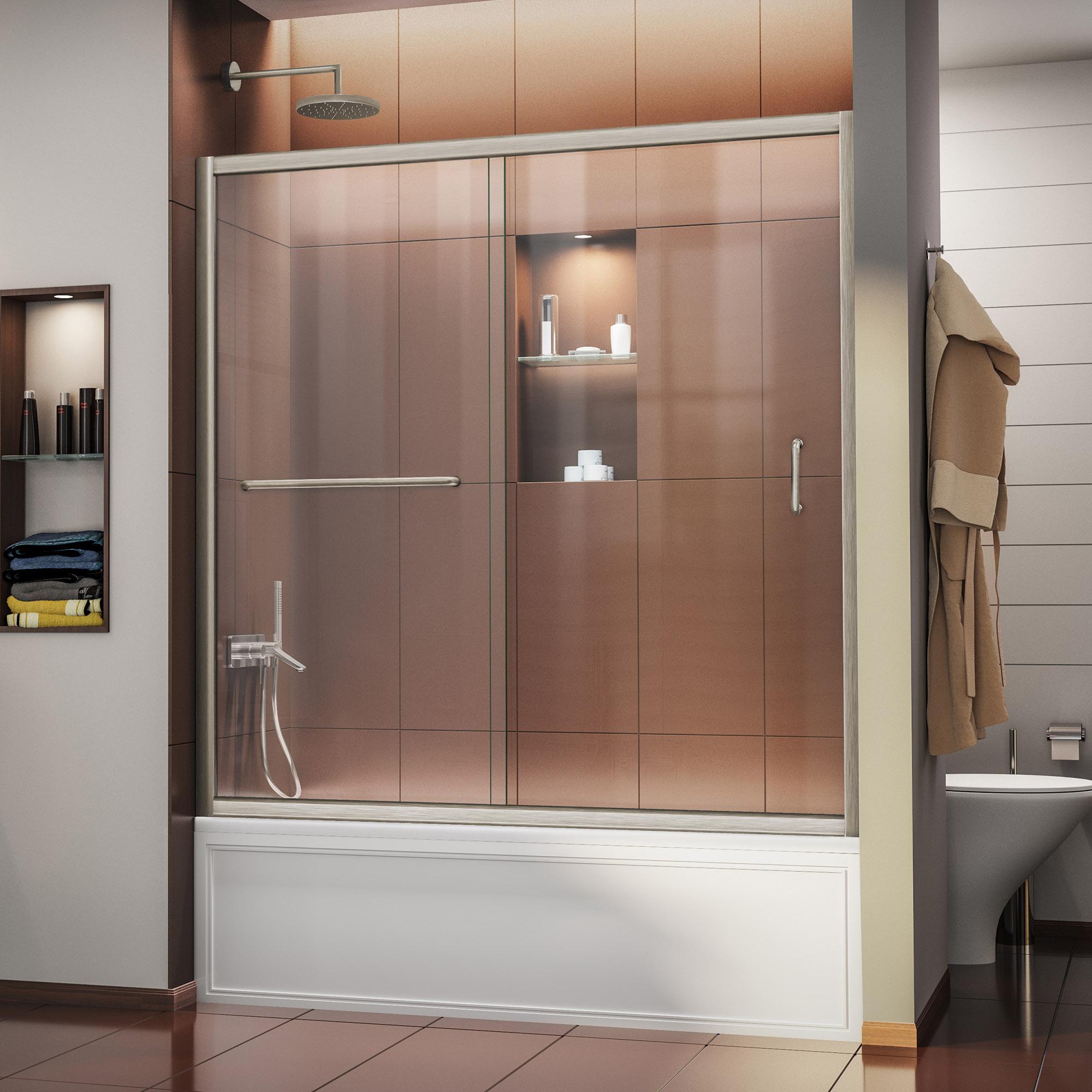 """Infinity-Z 56 to 60"""" Frameless Sliding Tub Door, Clear 1/4"""" Glass Door, Chrome"""