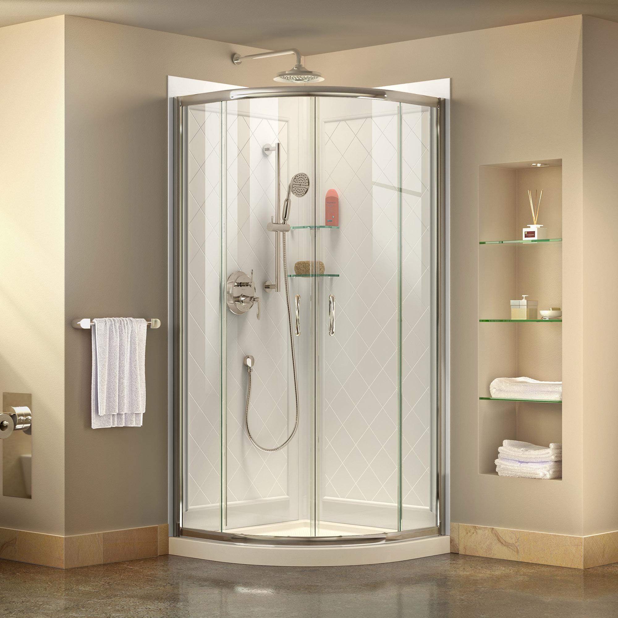 "Prime 31 3/8"" by 31 3/8"" Frameless Sliding Shower Enclosure, Base & QWALL-4 Shower Backwall Kit"