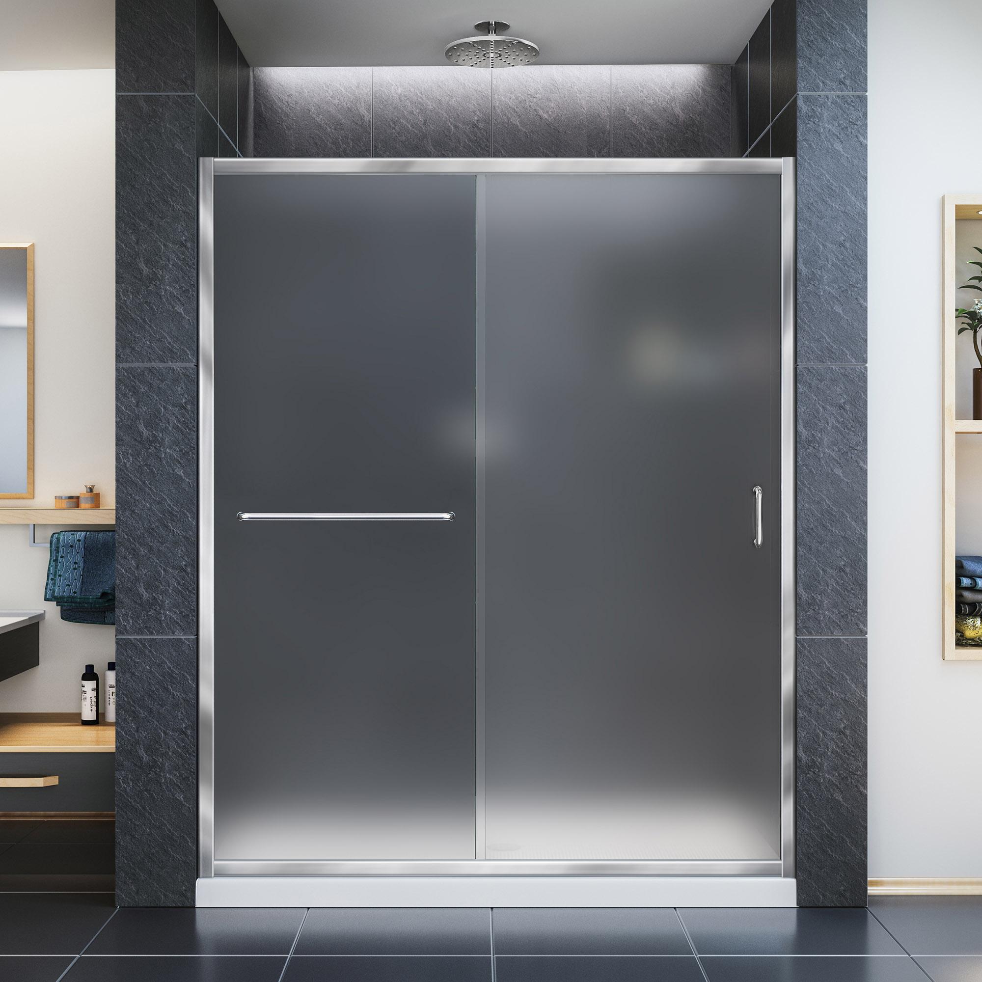 """Infinity-Z Frameless Sliding Shower Door & SlimLine 30"""" by 60"""" Shower Base"""