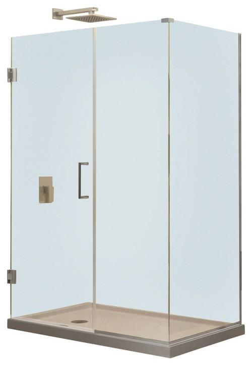 "Unidoor Plus 40"" x 34-3/8"" x 72"" Hinged Shower Enclosure, Brushed Nickel"