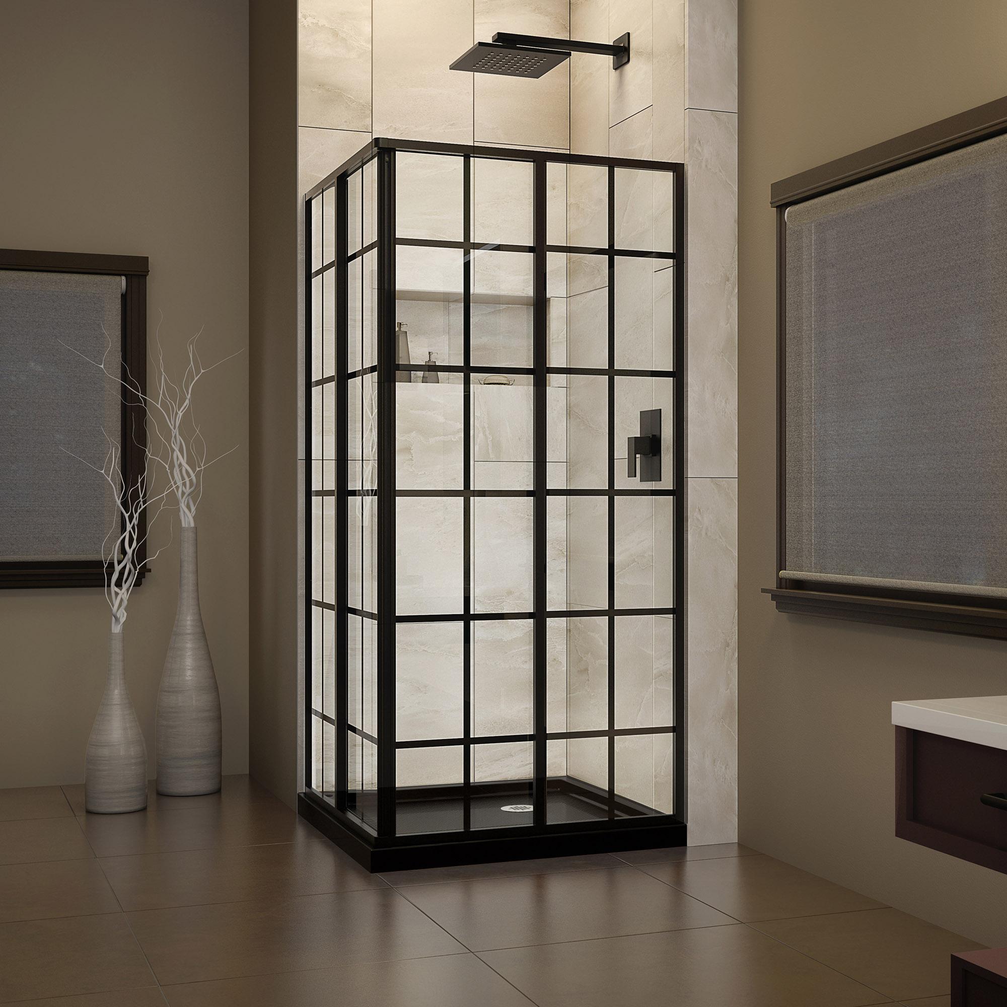 DreamLine French Corner 34 1/2 in. D x 34 1/2 in. W x 72 in. H Framed Sliding Shower Enclosure in Satin Black