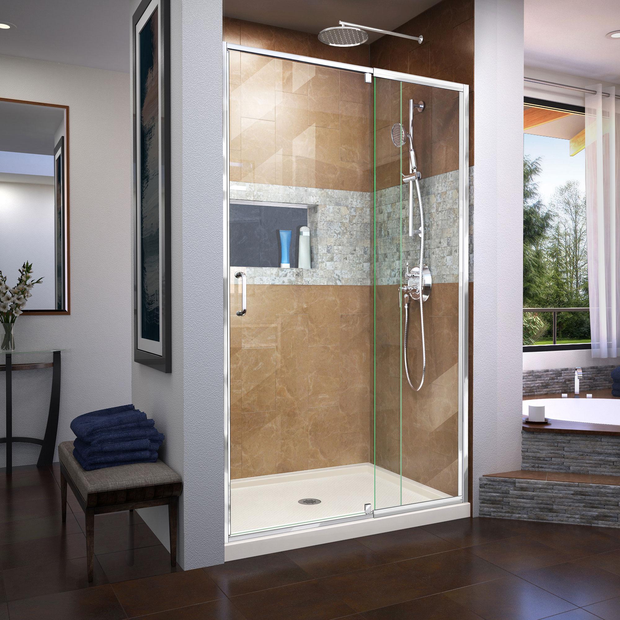 DreamLine Flex 32 in. D x 42 in. W x 74 3/4 in. H Semi-Frameless Pivot Shower Door in Chrome with Center Drain White Base Kit
