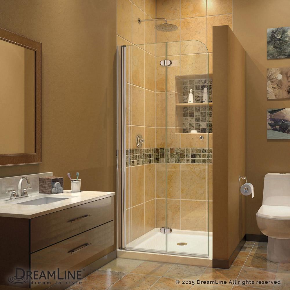 DreamLine Aqua Fold 36 in. D x 36 in. W x 74 3/4 in. H Frameless Bi-Fold Shower Door in Chrome with White Acrylic Base Kit