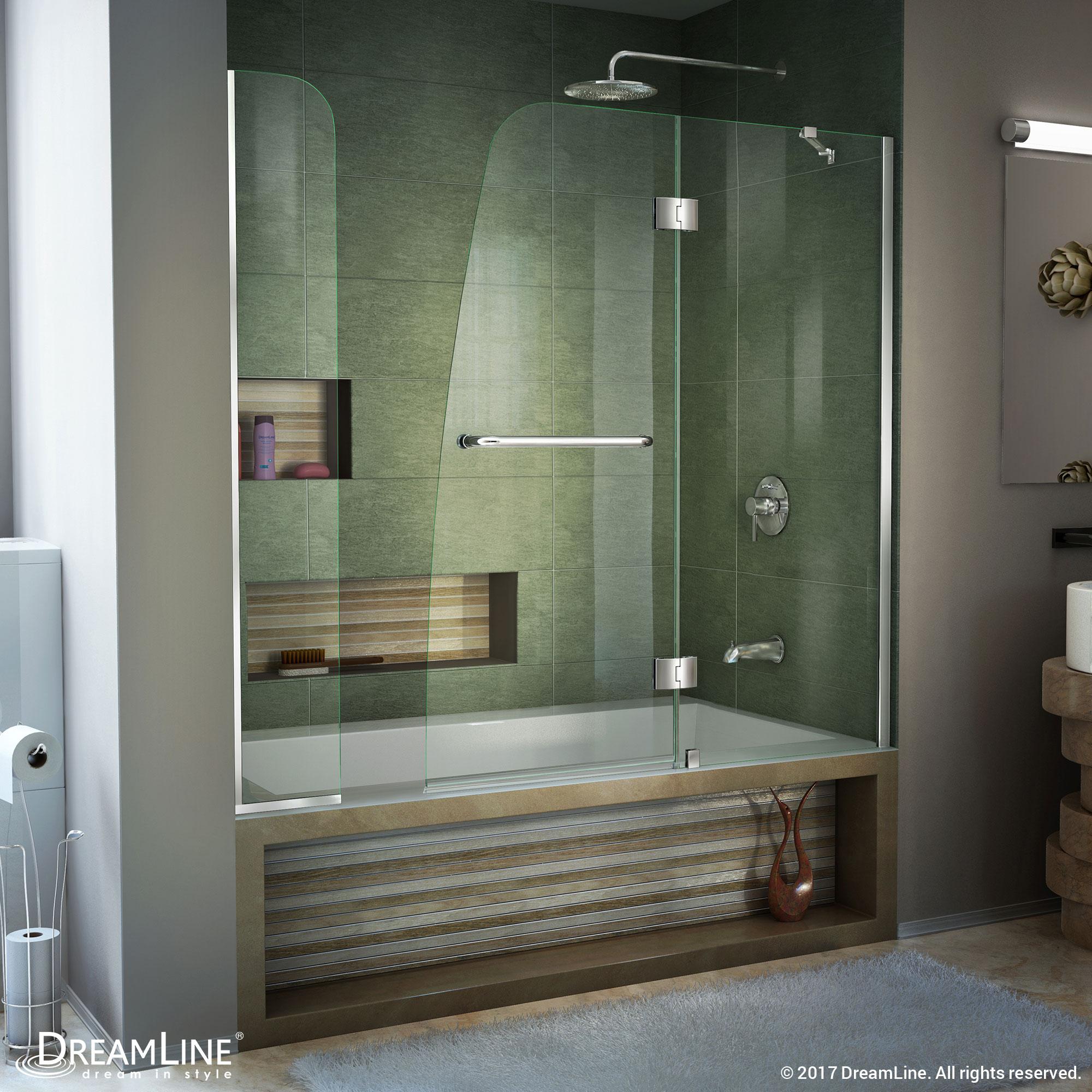 DreamLine Aqua 48 in. W x 58 in. H Frameless Hinged Tub Door in Chrome