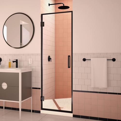 DreamLine Unidoor Edge 24W x 72H Frameless Hinged Shower Door in Satin Black